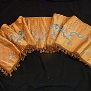 SOLD 19th C. French faded grandeur old gold silk cantonniere : pelmet  : chinese dragon floral