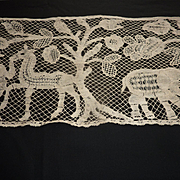 SOLD Decorative antique  hand made ecru lace panel Chateau provenance tree of life animals bir