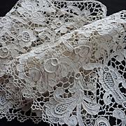 SOLD Superb handmade antique Venetian lace panel : flounce : Chateau provenance  72 inches lon