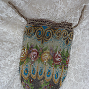 Delicious antique French beaded purse or reticule rose motifs