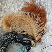 SOLD Selection 9 delicious old French millinery feather creations for projects
