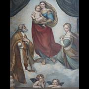 Exquisite 19th century French engraving La Vierge de Dresde dite de St. Sixte: cherubs : ...