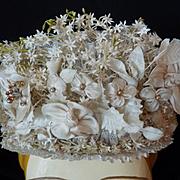 SALE PENDING Delicious antique French bride's wedding lace bonnet millinery flowers  silk ribb