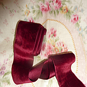 SOLD Superb quality old French claret colored silk velvet ribbon  60 inches projects
