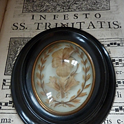 Adorable 19th C. French hair art mourning frame blond hair pansy motif