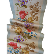 SOLD Exquisite antique French extra wide silk  ribbon floral motifs  22 1/2 inches long ......