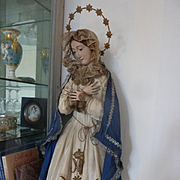 Religious Madonna : Virgin Mary statue doll wood gesso brown eyes original clothing, circa 185