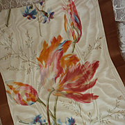 Delicious morceau antique French wide silk taffeta moire ribbon tulip motifs doll projects : c
