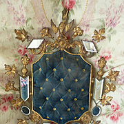 Decorative faded grandeur antique French upright blue wedding  cushion display stand