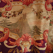 Faded grandeur decorative 19th c French Aubusson tapestry cantonniere :  panel : floral swags