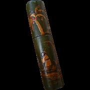 Rare decorative antique French Chinoiserie vernis martin billet doux : love letter etui / ...