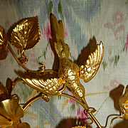 Gleaming 19th C. French ormolu wedding cushion embellishments Dove : flowers : leaves
