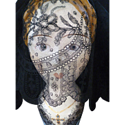 SOLD Beautiful flounce 19th C. Black Chantilly bobbin lace : floral motifs : scallop edge :  .
