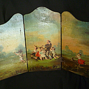 Adorable miniature hand painted folding screen : bucolic scene : young children : dog : musici