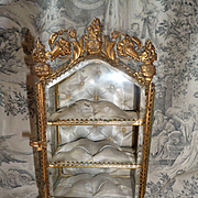 Splendid miniature 19th C. French ormolu glass display cabinet : vitrine : ideal doll accessor
