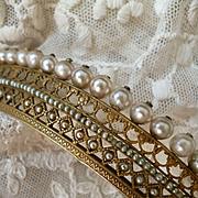 Exquisite antique French Empire vermeil and faux pearl diadem : tiara : floral motifs
