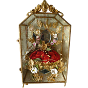 Delicious antique French ormolu wedding display casket : cabinet : wax corsage : pink bisque .