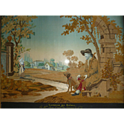 Exquisite French chenille needlework and painted silk bucolic scene : faithful dog : blind man