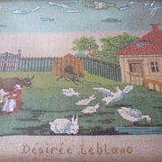 Enchanting 19th C. French beadwork picture farmyard scene : dog : ducks : geese : rabbit : cow