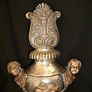 Unusual antique French religious procession pole finial : cherubs : flaming sacred hearts : ch