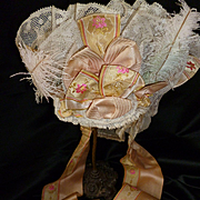 SALE PENDING Faded grandeur French bride's frothy lace wedding bonnet  : silk ribbons : feathe