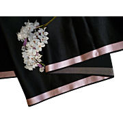 Morceau quality 19th C. French black satin fabric pink margins : doll projects : 104 inches ..