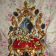 Elaborate antique French ormolu wedding cushion : cornflower : Lily of the valley : poppy : wa