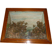 Decorative 19th C. diorama : display shadow box : mountain scene : donkey with peasants : ...