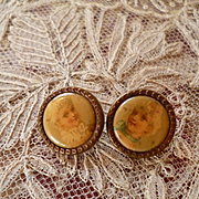 2 adorable 19th C. French celluloid buttons  depicting young ladies : circa 1880