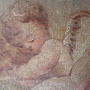 SOLD Adorable antique French painting : cherubs : putti motifs : boudoir interior design proje