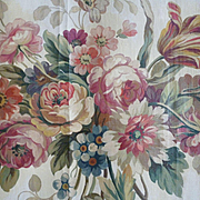 Decorative 19th C. hand painted Aubusson tapestry pattern : cartoon floral bouquet swags drape