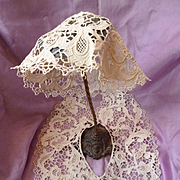 SALE PENDING Delicious handmade French gros point Venise collar : coiffe : exotic blooms : scr