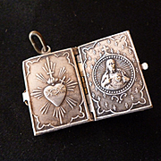 French silvered metal locket charm book form : flaming heart : jesus : Sacre Coeur Paris