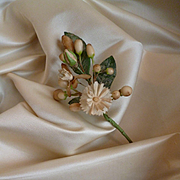 Superb morceau quality 19th C. French cream satin or silk fabric : doll projects