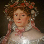 SOLD Beautiful 19th C. French portrait painting young lady : bonnet : lace : ribbons : flowers