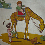 Adorable French childrens fabric panel : bears : children : giraffe : frog: circa 1920 - 30