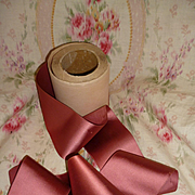 Delicious French dusky old rose satin ribbon still wrapped in shop packaging