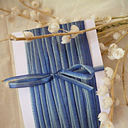 Delicious old French narrow blue ombre : graduated silk ribbon : 10 yard length