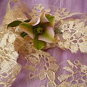 SOLD 2 flounces French hand made bobbin silk lace Blonde de Caen motifs : doll clothes project