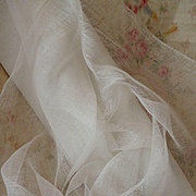 Ethereal old white soft tulle : muslin type fabric : convent attic : doll clothing projects :