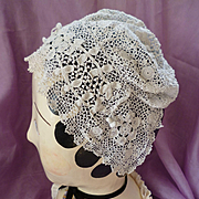 SALE PENDING Adorable old French white hand made fine  irish lace crochet childs  bonnet : hat