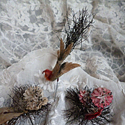 3 decorative 19th C. French pins : wedding dome : tinsel : bird : artificial flowers