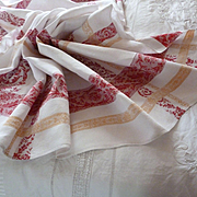 Charming antique French red and gold linen damask table cloth : 6 napkins : rose motifs : mono