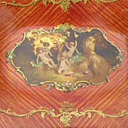Unusual faded grandeur coral colored papier mache dish  : frolicking cherubs : Napoleon III pe