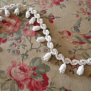 Adorable vintage French white trim : passementerie : embellished Lily of the Valley flowers  9
