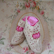 SALE PENDING Adorable pair hand made French baby : young child fabric shoes : boots : circa 19
