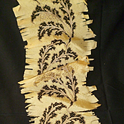 Delicious antique hand embroidered gold metallic netting : foliage motifs : silk fabric : proj