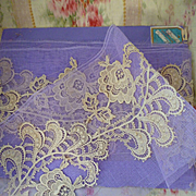 Delicious French unused ecru lace embellishments ( 11 )  shop packaging :  mauve tulle :  71 i