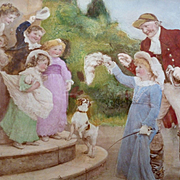 Adorable 19th C. English eglomise painting sentimental country scene children : Fred Morgan