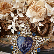 Decorative 19th.C religious French star candle shade : blue glass heart : paste stones
